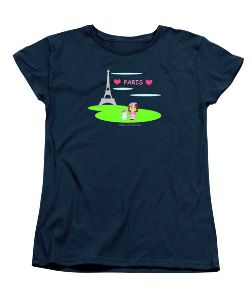 Cathy And The Cat In Paris Women's T-Shirt (Standard Cut) by Laura Greco
