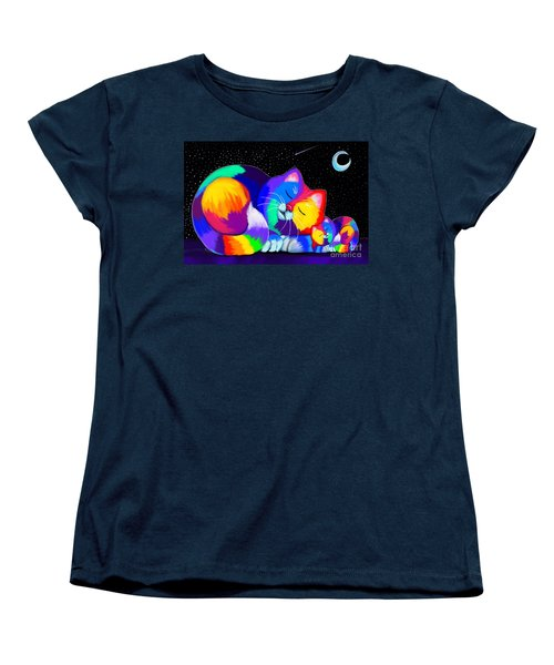 Women's T-Shirt (Standard Cut) featuring the drawing Catnaps For Two by Nick Gustafson