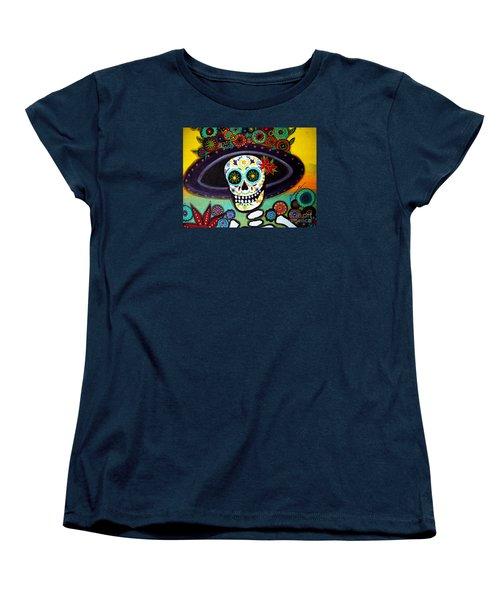 Women's T-Shirt (Standard Cut) featuring the painting Catrina by Pristine Cartera Turkus