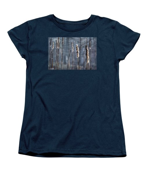 Women's T-Shirt (Standard Cut) featuring the photograph Cattails In The Winter by Sumoflam Photography