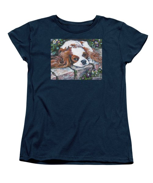 Cavalier King Charles Spaniel In The Pansies  Women's T-Shirt (Standard Cut) by Lee Ann Shepard