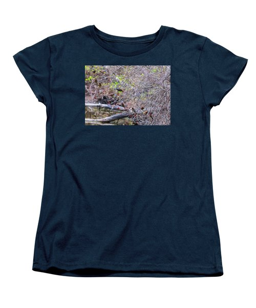 Women's T-Shirt (Standard Cut) featuring the photograph Cedar Waxwings Feeding 2 by Edward Peterson