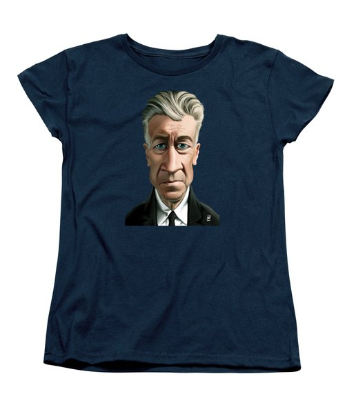 Women's T-Shirt (Standard Cut) featuring the drawing Celebrity Sunday - David Lynch by Rob Snow