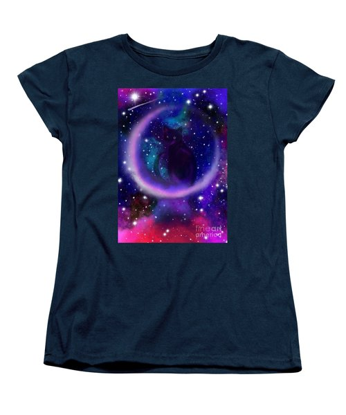 Women's T-Shirt (Standard Cut) featuring the painting Celestial Crescent Moon Cat  by Nick Gustafson