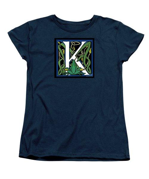 Celt Frog Letter K Women's T-Shirt (Standard Cut) by Donna Huntriss