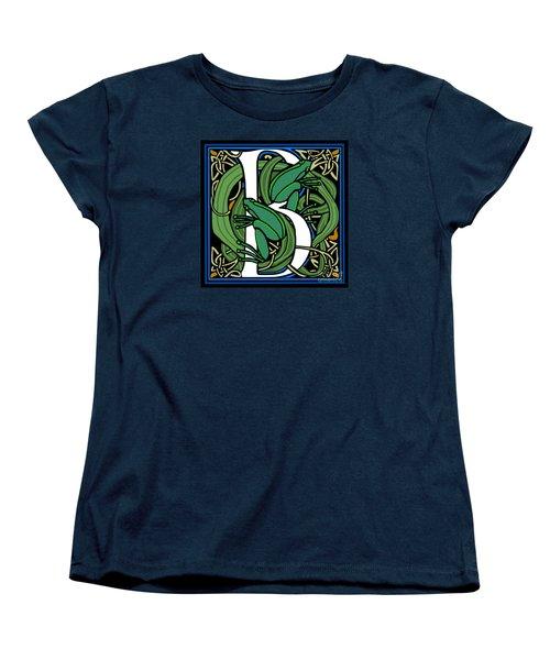 Celt Frogs Letter B Women's T-Shirt (Standard Cut) by Donna Huntriss