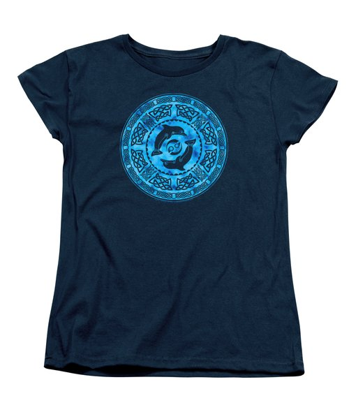 Women's T-Shirt (Standard Cut) featuring the mixed media Celtic Dolphins by Kristen Fox