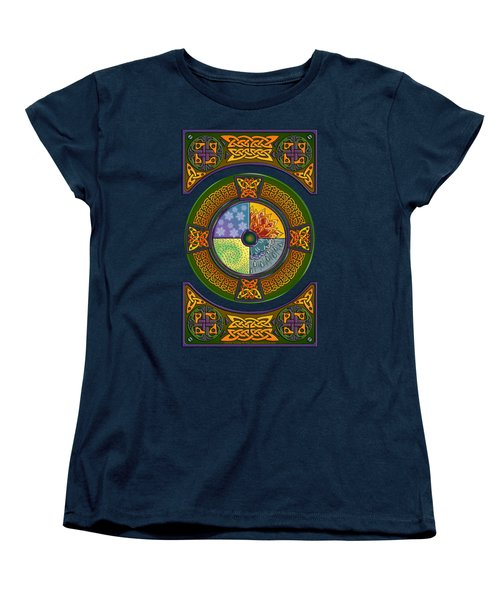 Women's T-Shirt (Standard Cut) featuring the mixed media Celtic Elements by Kristen Fox