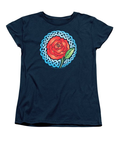 Women's T-Shirt (Standard Cut) featuring the mixed media Celtic Rose Stained Glass by Kristen Fox