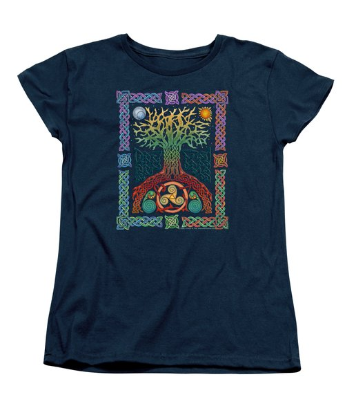 Women's T-Shirt (Standard Cut) featuring the mixed media Celtic Tree Of Life by Kristen Fox