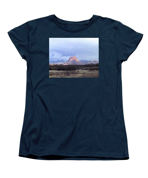 Women's T-Shirt (Standard Cut) featuring the painting Cerro Castellan And Mule Ears  by Dennis Ciscel