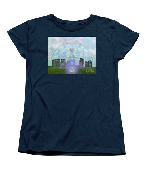 Women's T-Shirt (Standard Cut) featuring the digital art Chalice Over Stonehenge In Flower Of Life And Man by Christopher Pringer