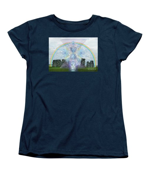 Women's T-Shirt (Standard Cut) featuring the digital art Chalice Over Stonehenge In Flower Of Life by Christopher Pringer