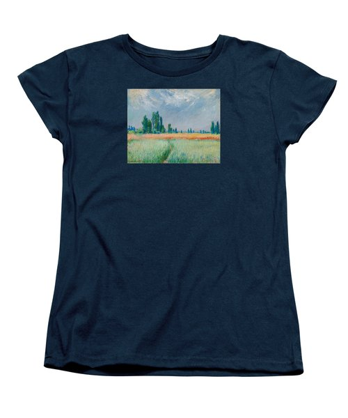 Women's T-Shirt (Standard Cut) featuring the painting Champ De Ble by Claude Monet