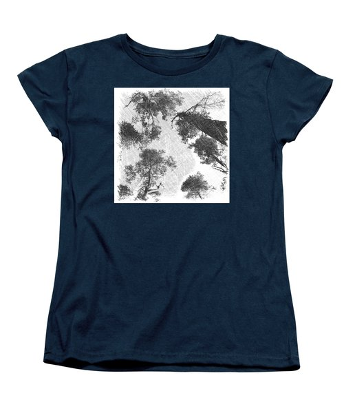 Charcoal Trees Women's T-Shirt (Standard Cut) by RKAB Works
