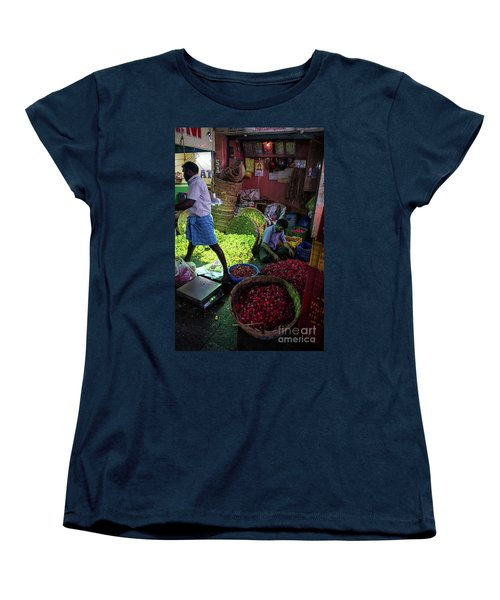 Women's T-Shirt (Standard Cut) featuring the photograph Chennai Flower Market Busy Morning by Mike Reid