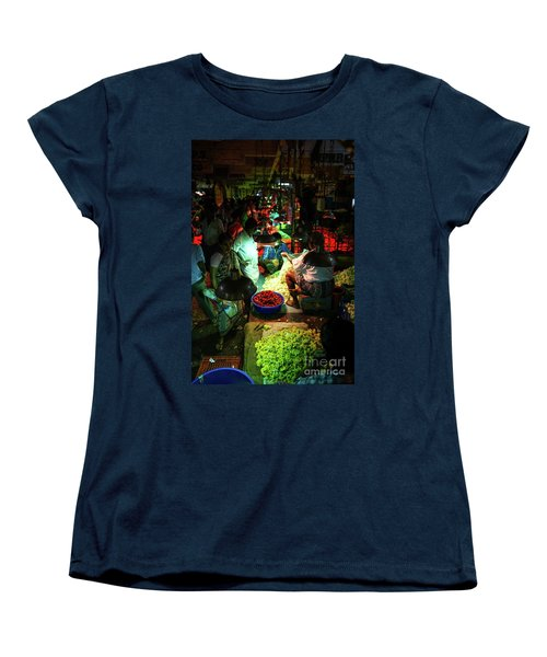 Women's T-Shirt (Standard Cut) featuring the photograph Chennai Flower Market Stalls by Mike Reid