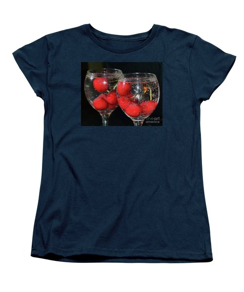 Women's T-Shirt (Standard Cut) featuring the photograph Cherry In Glass by Elvira Ladocki