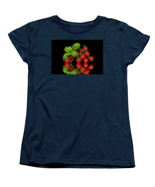 Women's T-Shirt (Standard Cut) featuring the photograph Cherry Tomatoes And Basil by David French