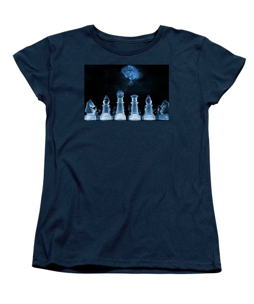 Chess Game And Human Brain Women's T-Shirt (Standard Cut) by Christian Lagereek