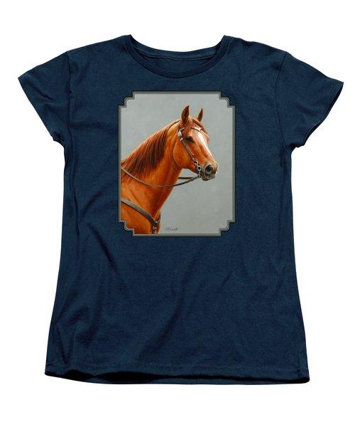 Chestnut Dun Horse Painting Women's T-Shirt (Standard Fit)