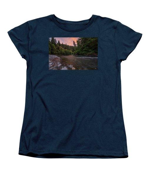 Women's T-Shirt (Standard Cut) featuring the photograph Chetco River Sunset by Leland D Howard