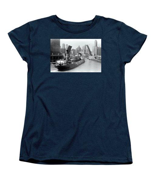 Women's T-Shirt (Standard Cut) featuring the photograph Chicago Draw Bridge 1941 by Daniel Hagerman