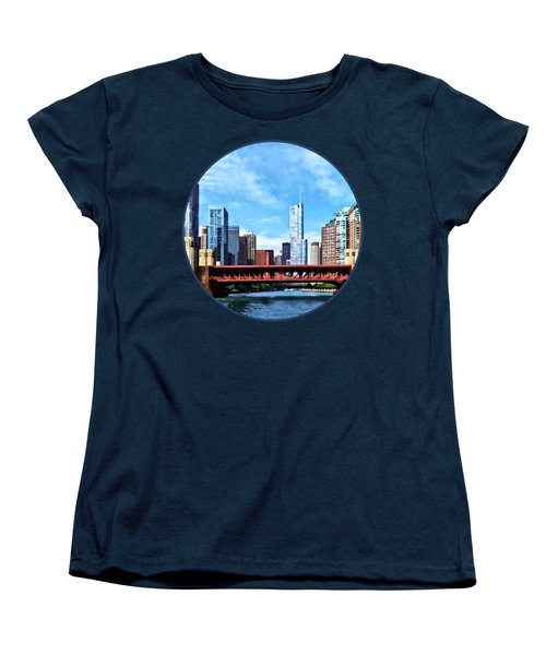 Chicago Il - Lake Shore Drive Bridge Women's T-Shirt (Standard Cut) by Susan Savad