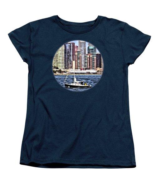 Chicago Il - Sailing On Lake Michigan Women's T-Shirt (Standard Cut) by Susan Savad