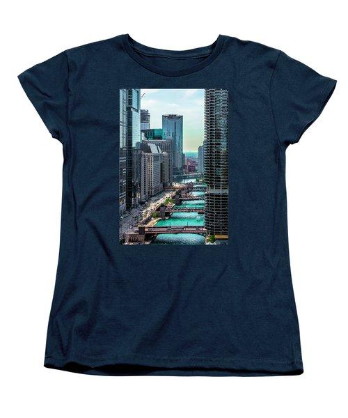 Chicago River From Londonhouse Chicago Dsc2290 Women's T-Shirt (Standard Cut) by Raymond Kunst