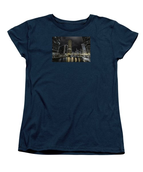 Women's T-Shirt (Standard Cut) featuring the photograph Chicago Riverfront Skyline At Night by Keith Kapple