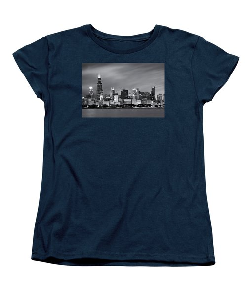 Women's T-Shirt (Standard Cut) featuring the photograph Chicago Skyline At Night Black And White  by Adam Romanowicz