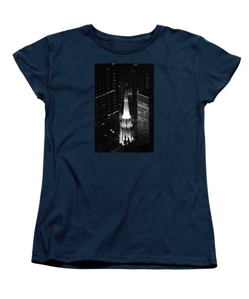 Chicago Temple Building Steeple Bw Women's T-Shirt (Standard Cut) by Richard Zentner
