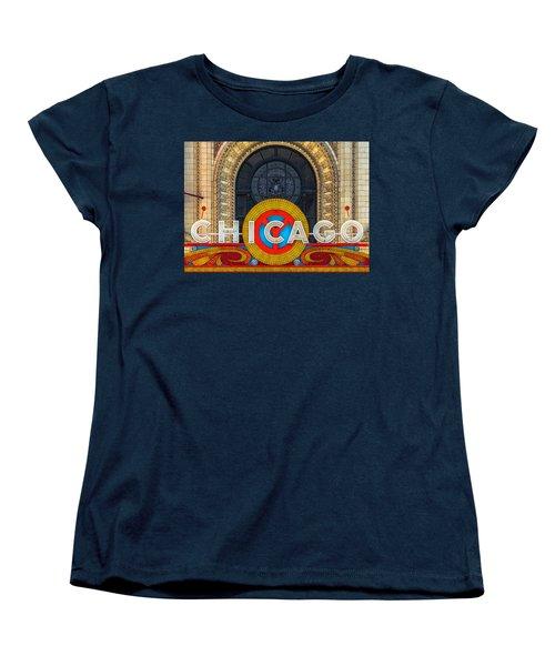 Chicago Theatre Sign Dsc2176 Women's T-Shirt (Standard Cut) by Raymond Kunst