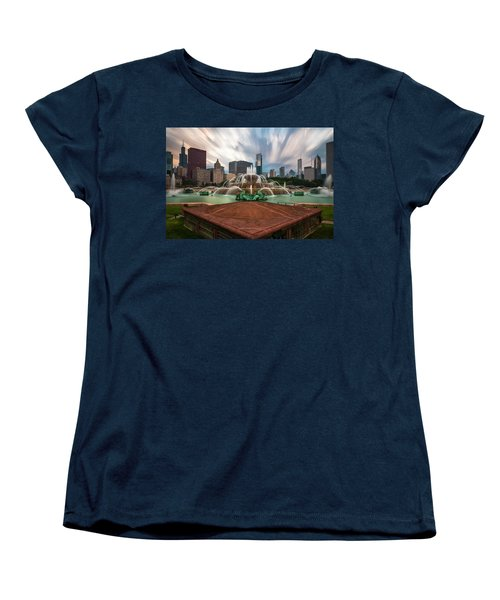 Women's T-Shirt (Standard Cut) featuring the photograph Chicago's Buckingham Fountain by Sean Foster