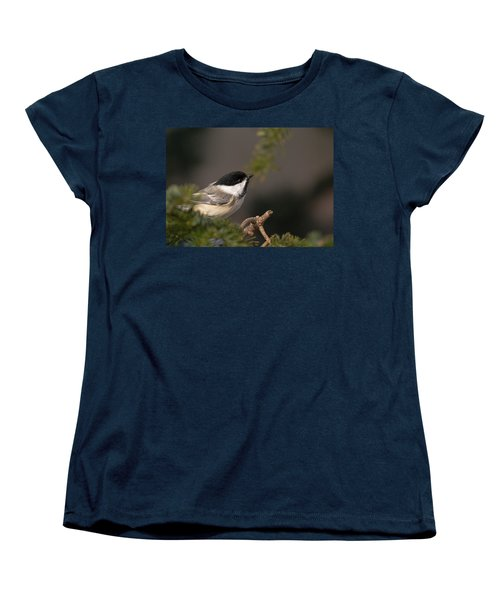 Women's T-Shirt (Standard Cut) featuring the photograph Chickadee In The Shadows by Susan Capuano
