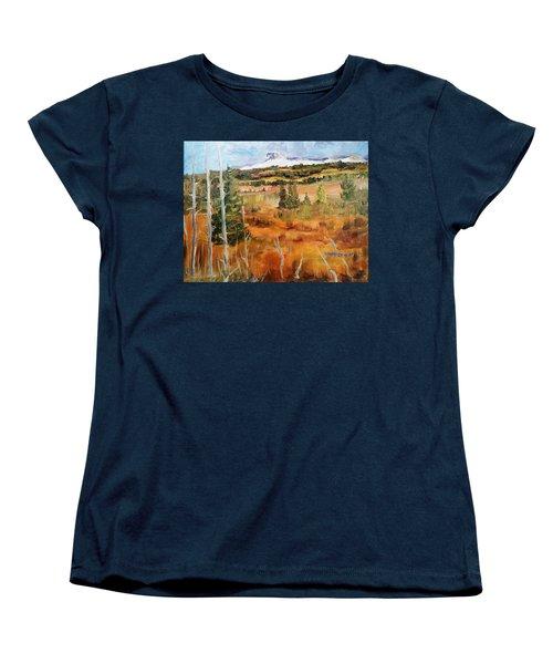 Chief Mountain Women's T-Shirt (Standard Cut) by Larry Hamilton