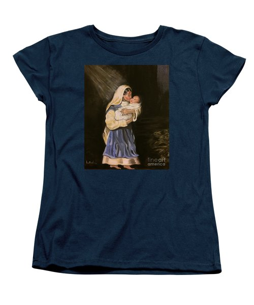 Women's T-Shirt (Standard Cut) featuring the painting Child In Manger by Brindha Naveen