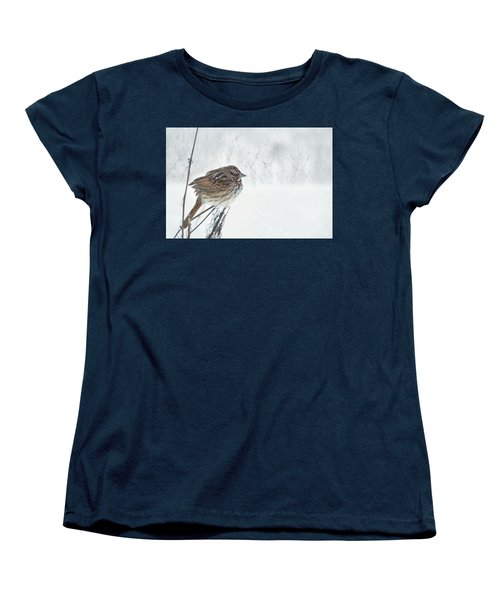 Women's T-Shirt (Standard Cut) featuring the mixed media Chilly Song Sparrow by Lori Deiter