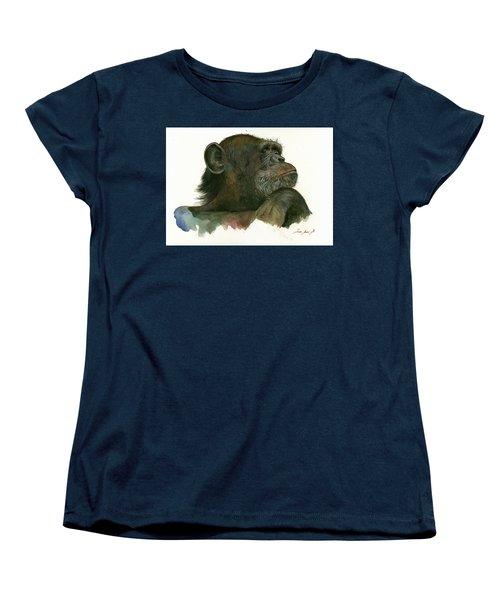 Chimp Portrait Women's T-Shirt (Standard Cut) by Juan Bosco