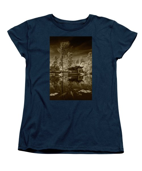 Women's T-Shirt (Standard Cut) featuring the photograph Chinese Botanical Garden In California With Koi Fish In Sepia Tone by Randall Nyhof