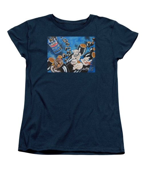 Women's T-Shirt (Standard Cut) featuring the painting Chip And Dip In Space Olives by Sigrid Tune