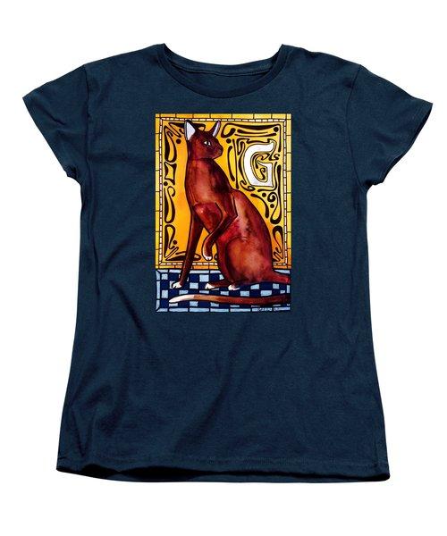Women's T-Shirt (Standard Cut) featuring the painting Chocolate Delight - Havana Brown Cat - Cat Art By Dora Hathazi Mendes by Dora Hathazi Mendes