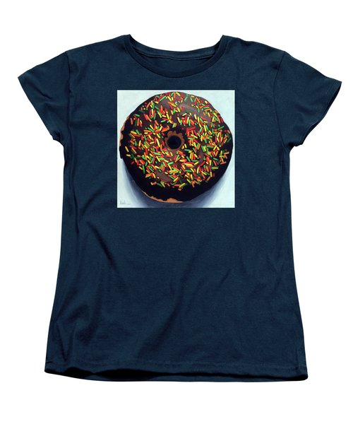 Women's T-Shirt (Standard Cut) featuring the painting Chocolate Donut And Sprinkles Large Painting by Linda Apple