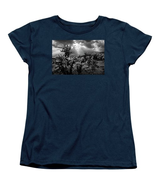 Women's T-Shirt (Standard Cut) featuring the photograph Cholla Cactus Garden Bathed In Sunlight In Black And White by Randall Nyhof