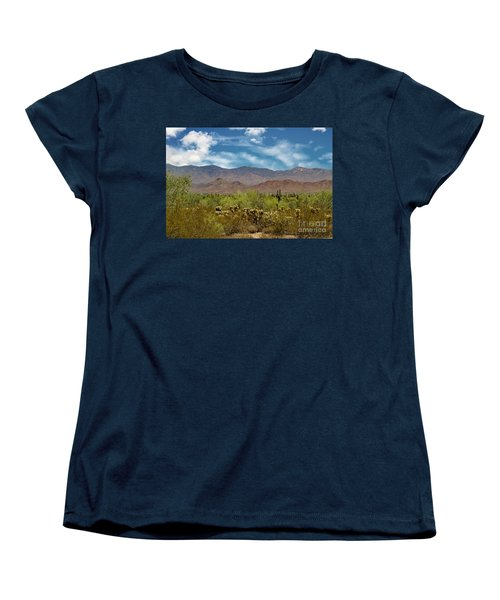 Cholla Saguaro And The Mountains Women's T-Shirt (Standard Cut) by Anne Rodkin
