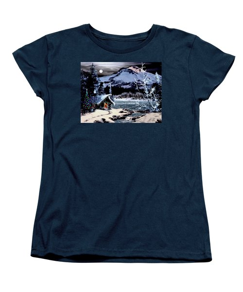 Christmas At The Lake V2 Women's T-Shirt (Standard Cut) by Ron Chambers