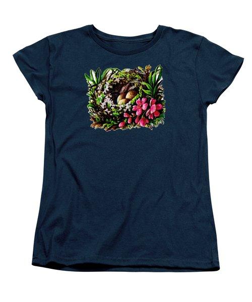 Christmas Birds Nest Painting Women's T-Shirt (Standard Cut) by R Muirhead Art