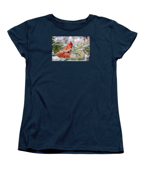 Women's T-Shirt (Standard Cut) featuring the photograph Christmas Cardinal by Brian Tarr