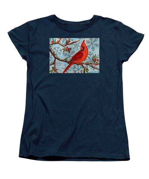 Women's T-Shirt (Standard Cut) featuring the mixed media Christmas Cardinal by Li Newton